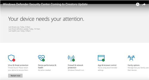 New Security Center Coming to Windows 10 'Creators Update